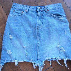 Zara Distressed Denim Jean Mini Skirt